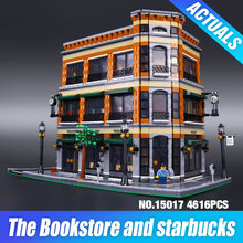 2016 New LEPIN 15017 4616Pcs Creator Starbucks Bookstore Cafe Model Building Kits Blocks Bricks Toys Gift