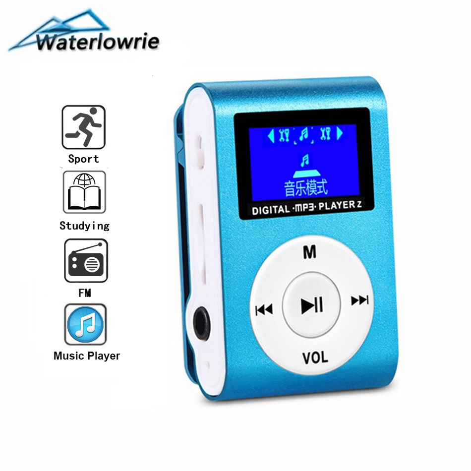 Waterlowrie FM MP3 Hot Sale LCD Screen Metal Mini Clip Music MP3-Player Support Micro TF/SD Slot Portable Player Sport mp 3