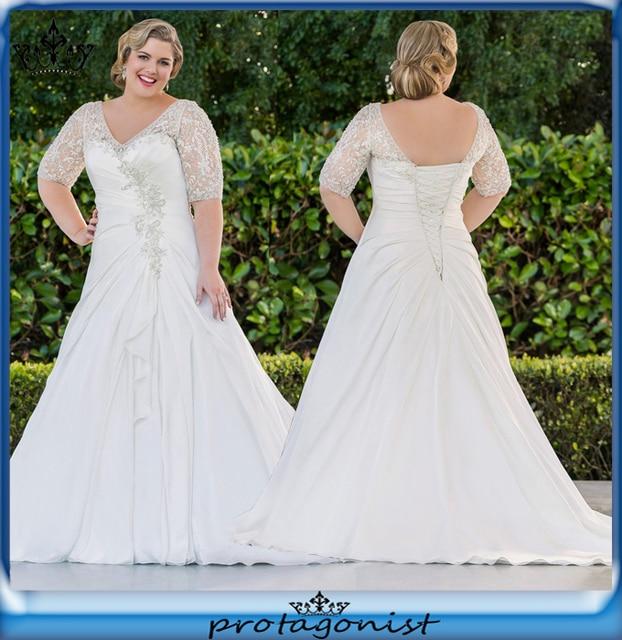 Plus Size Wedding Dresses 2015 A Line Chiffon Modern