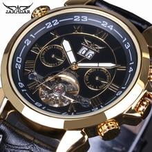 男性腕時計トップの高級ブランドjaragarトゥールビヨン日付ヴィンテージ自動機械式時計ブラックゴールドレロジオmasculino送料無料