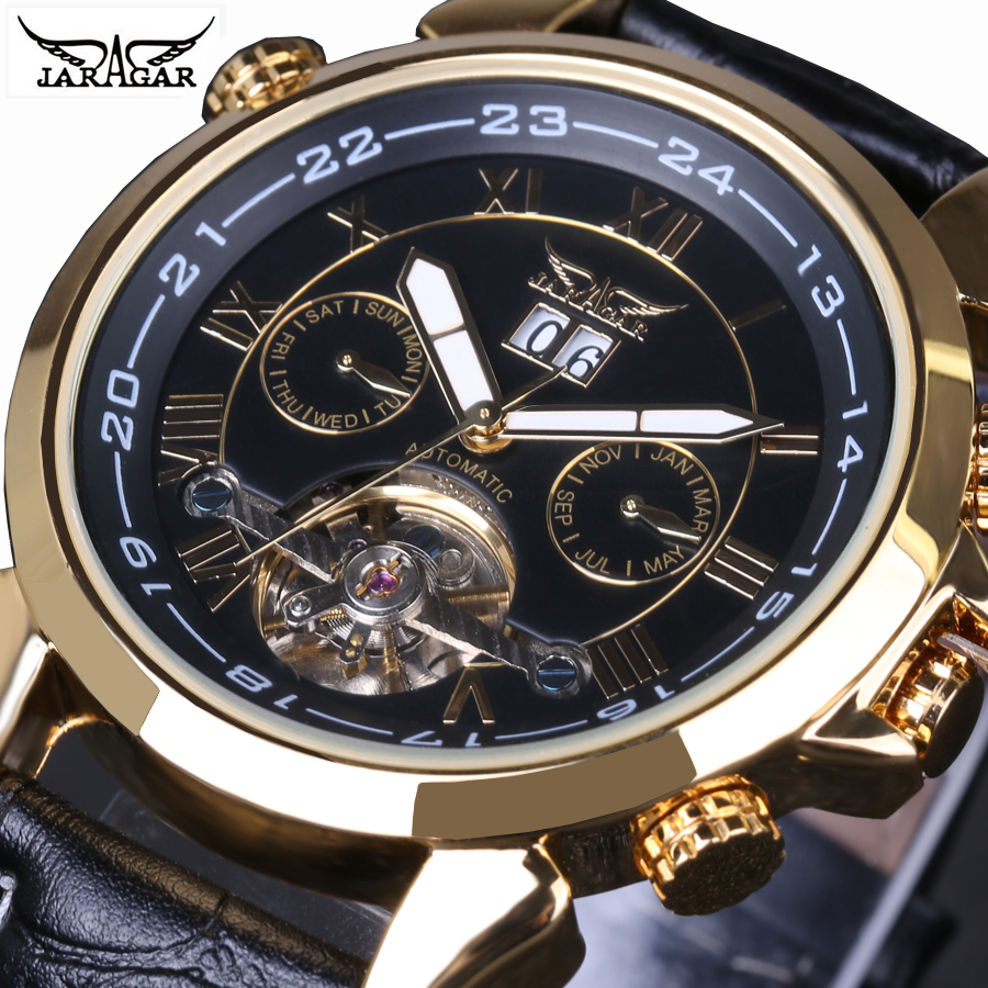 Men watch Top Luxury Brand Jaragar Tourbillon Date Vintage Automatic Mechanical Watch Black Gold Relogio Masculino Free Shipping 2017 jaragar luxury watch men tourbillon automatic wrist mechanical watches free shipping gift