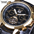 Men watch Top Luxury Brand Jaragar Tourbillon Date Vintage Automatic Mechanical Watch Black Gold Relogio Masculino Free Shipping