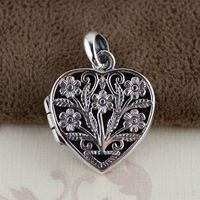 S925 Sterling Silver Pendant antique style female heart shaped pendant pierced open