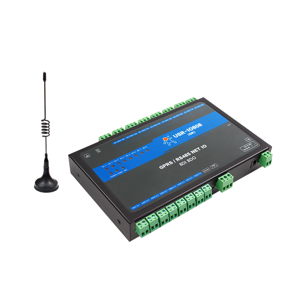 USR-IO808-GR 8-Way GPRS / GSM Network IO Controller 8 Channel Output Input Support Master Slave Mode Cloud TCP/RTU Protocol 8 way network io controller remote control rs485 relay switch modbus tcp rtu protocol support master slave mode usr cloud q156