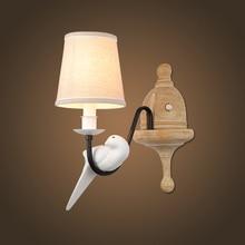 Nordic современный E14 светодиодный смолы Ткань Бра птица Форма металл роспись стены лампы для домашнего освещения Проход Коридор света