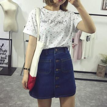 2018 New Fashion A-Line Korean Mini Jeans Skirt Thin Single Breast Button Slim Waist Denim Skirts Summer Cheap Sexy Skirt Women a-line