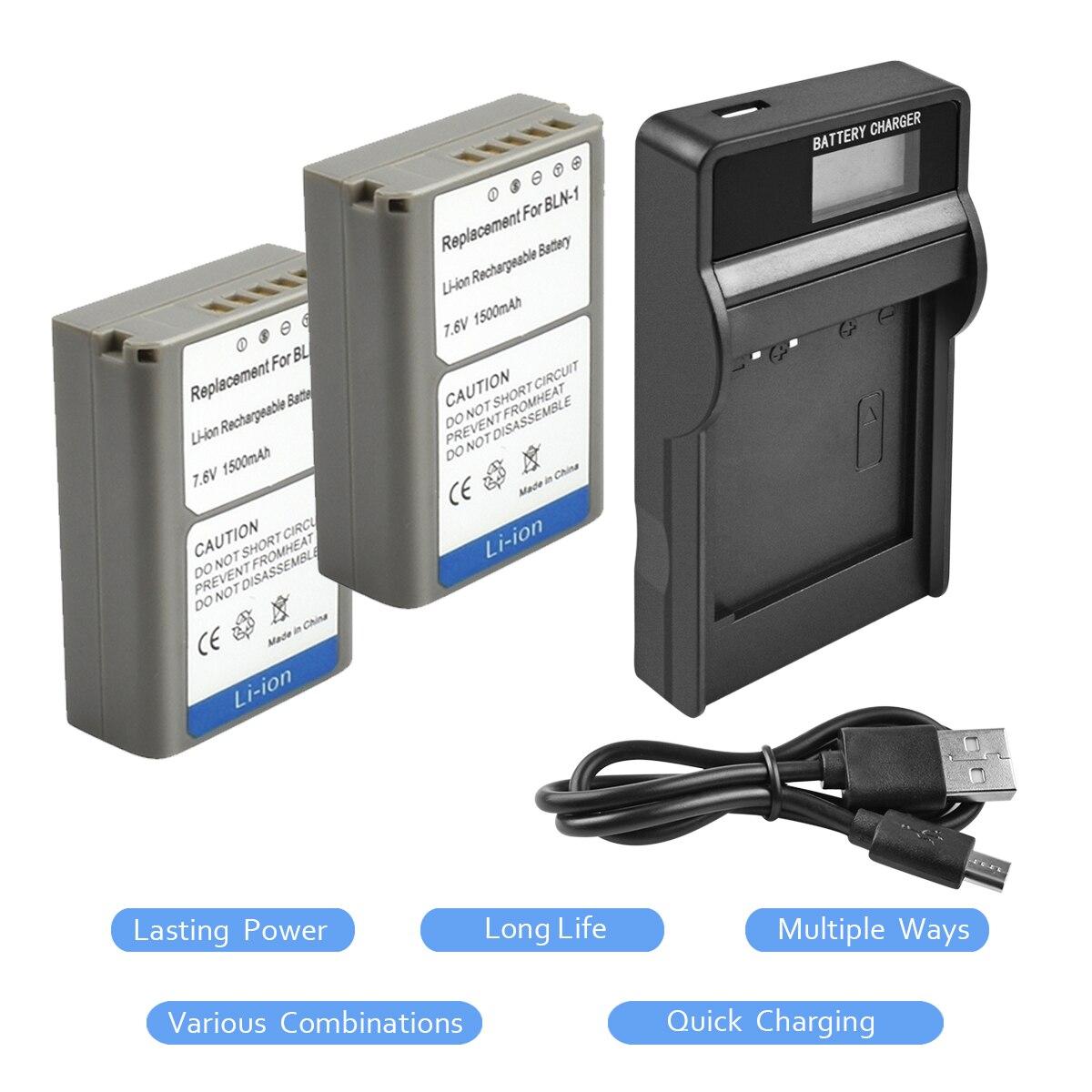 2pcs1500MAH BLN-1 BLN1 PS-BLN1 Batterie + LCD Unique Chargeur Chargeur pour Olympus E-M5 OM-D E-M1 E-P5 Caméra L15