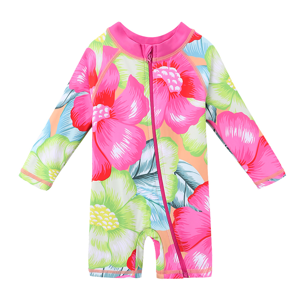 BAOHULU Cute Baby Infant Girl Swimwear UPF50+ Floral Long Sleeve Toddler Bathing Suits One Piece Swimsuit Rash Guards for KidsBAOHULU Cute Baby Infant Girl Swimwear UPF50+ Floral Long Sleeve Toddler Bathing Suits One Piece Swimsuit Rash Guards for Kids