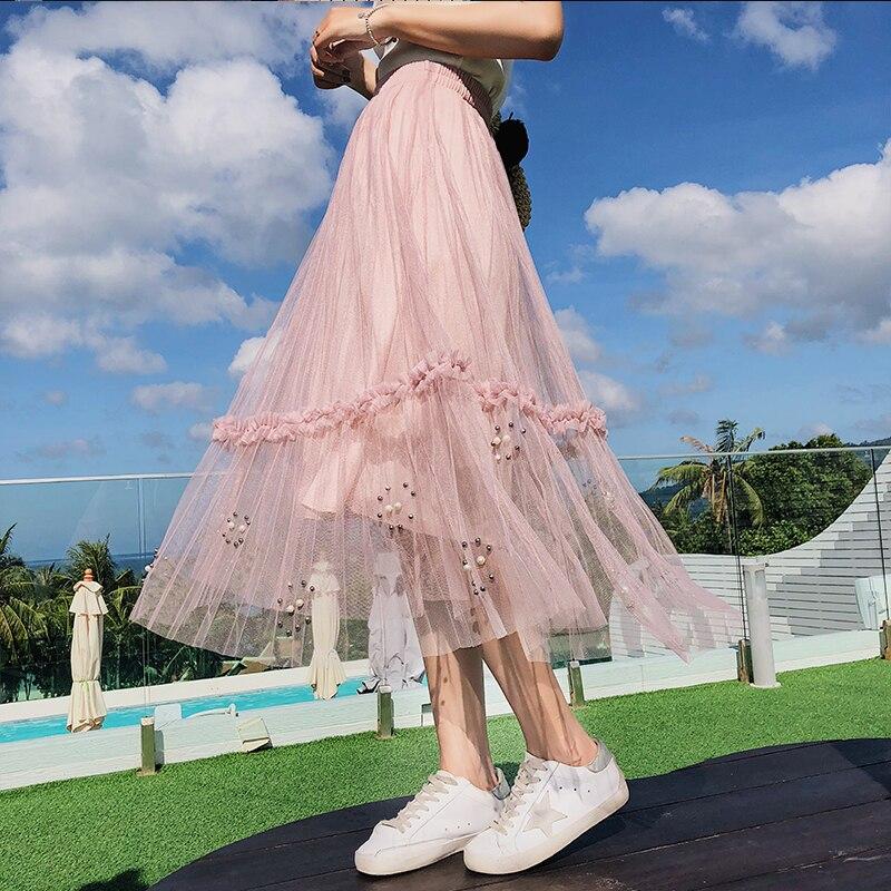 2018 Women Summer Long Tulle Skirt Korean Style Sweet Beading Hem 3D Flower Trim Mesh Tunic Empire Pleated Tutu Skirt Female