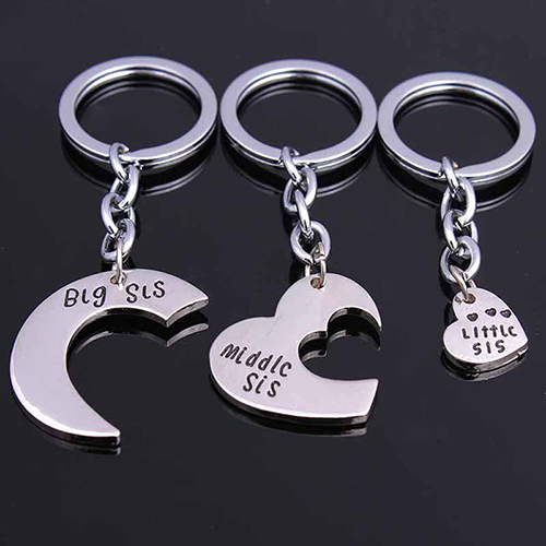 1 Set Big Mid Lil Sis Metal Sister Love Heart Family Keychain Gifts Keyring Car Accessory Charm Women Best Friend BFF Jewelry