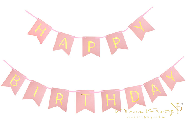 nicro 3m birthday letter banner flags pink light pink hanging baby