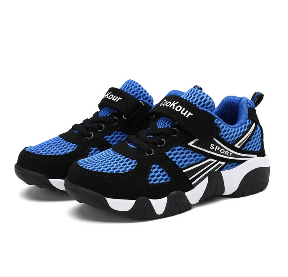 2018 Popular Fashion Black Blue Kid Sport Shoes For Boys Newest Style Patchwork Mesh And Leather Children School Shoe Size 31-40