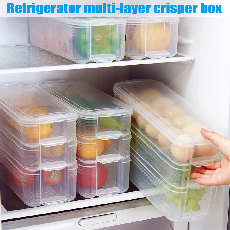 1pc Plastic Storage Bins Refrigerator Food Containers with Lid for Kitchen Cabinet Freezer Dropshipping FAS|Bottles Jars & Boxes| |  - title=
