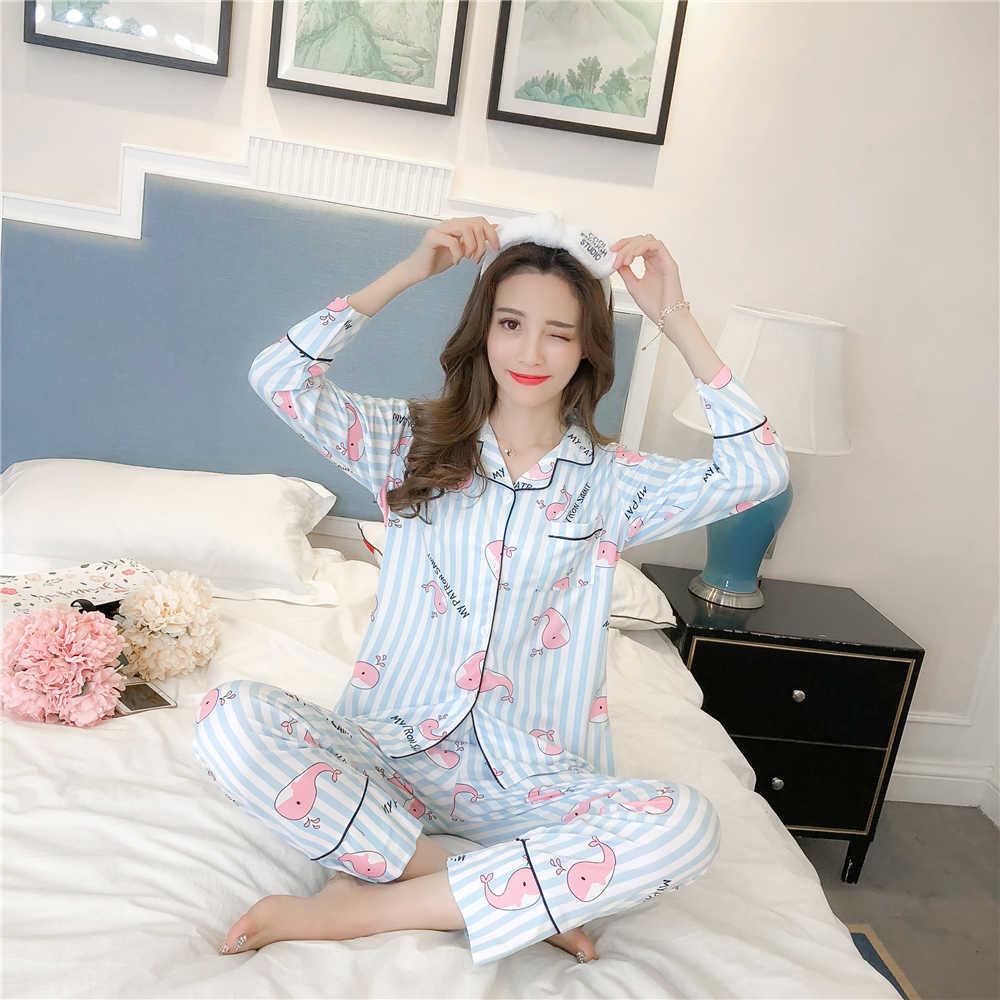 Yuzhenli Mới Mùa Thu 2018 Bộ Đồ Ngủ Lỏng Lẻo Phụ Nữ Cô Gái Homewear Đặt Dài Tay Áo Đàn Hồi Eo Quần Cotton Phòng Chờ Cardigan pyjamas