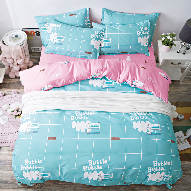 Home bedding 4pcs flat sheet set Flamingo bed linen set sheet pillowcase duvet cover set Cute bird child bedclothes leaf cover in Bedspread from Home Garden