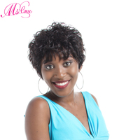Ms Love Short Curly Human Hair Wigs For Black Women Brazilian Wig Remy Hair Natural Color