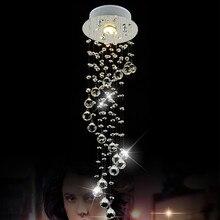 Современная LED 1 Свет Хрустальной Люстры Кристалл K9 Chrome Спирали Потолочный Светильник люстры Светильник avize Домашнего Освещения