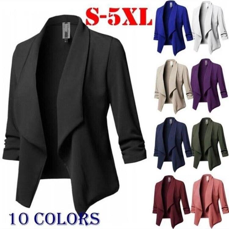 Plus Size Blazer Women Solid Color Suit Long Sleeved Lapel Casual Small Suit Slim Ladies Blazers Work Wear Jacket