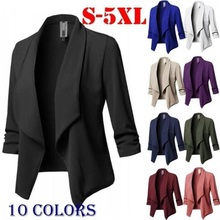 Plus Size Blazer Women Solid Color Suit Long Sleeved Lapel C