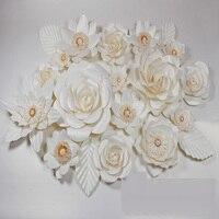 19 adet Çiçekler + 6 adet Dev Karton Kağıt Gül Vitrin Düğün Arka Planında Sahne Bırakır flores artificiais para decora o