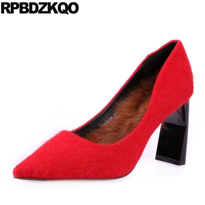 Suede Modern Red New Female 2017 Women Shoes Ladies Pointed Toe Chunky Sexy Fashion Pumps Size 4 34 China Elegant Winter Chinese ladies western style sexy elegant ankle strap big size 4 to 15 soft suede genuine leather pointed toe shoes green white red