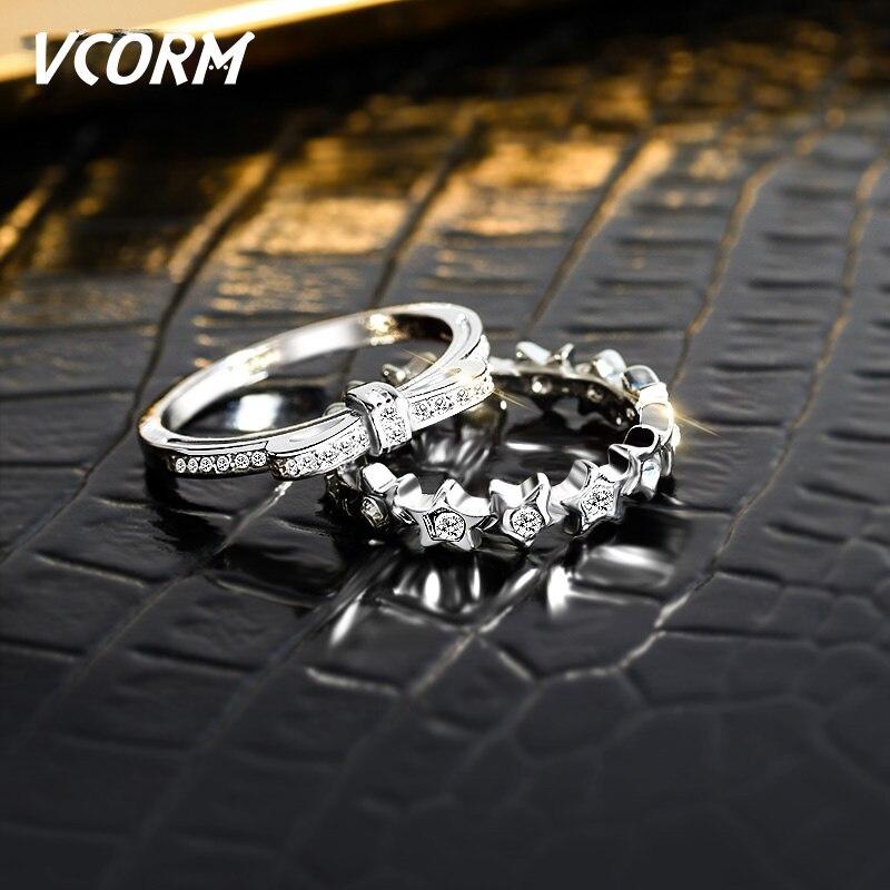 Verlobungsringe Süß GehäRtet Vcorm Hochzeit Marke Stapelbar Silber Aaa Zirkonia Ringe Für Frauen Engagement Fashion Kristall Fünf Stern Bogen Ring Schmuck Schmuck & Zubehör