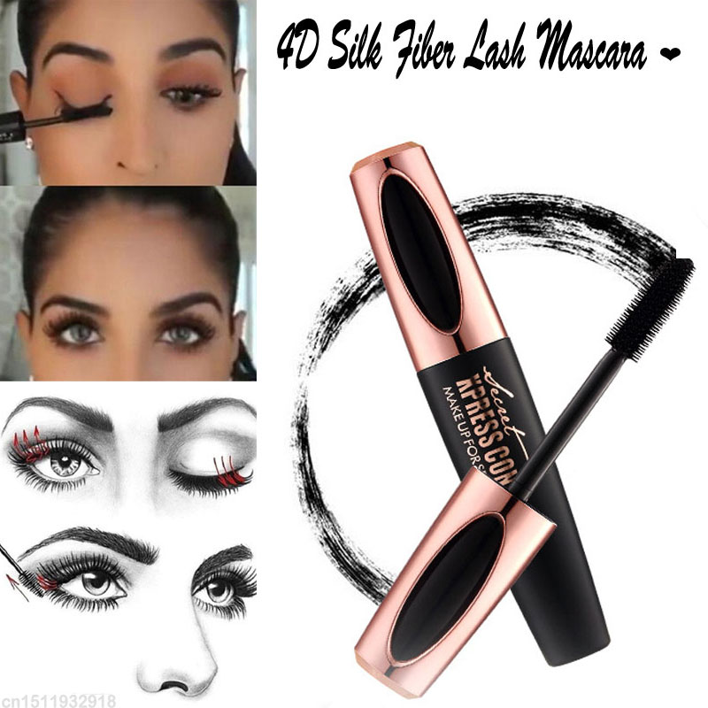 Magic Black Silk Mascara Makeup Set Eyelash Extension Lengthening Volume Waterproof 4D Fiber Lash Mascara Korean Cosmetics