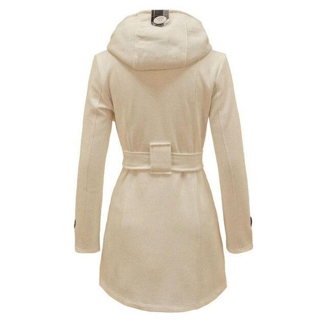 XUXI 2019 Winter Woman Coat Female Overcoat Warm Waist Hooded Women Long Section Double Breasted Wool Windbreaker FZ303 4