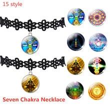 Hollow Designs Choker Necklace Black Lace Velvet Strip Woman Yoga Mandala Flower Lucky Charm Necklace Seven Chakra  Necklace