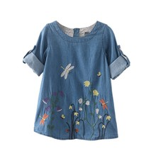 Autumn Spring Children Clothing Denim Dress Kid Girls Dragonfly Flower Embroidery Fresh Denim Dresses
