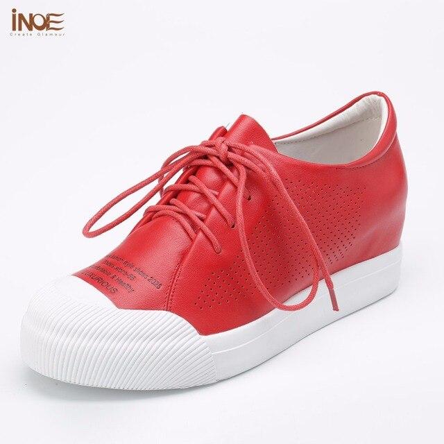 INOE 2018 nuevo estilo de moda de cuero genuino mujeres malla zapatos de verano zapatillas de tacón ocultos blanco negro gris rojo calidad