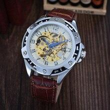 GOER марка мужские автоматические наручные часы Моды водонепроницаемый кожа Световой Скелет Мужчины спортивные часы цифровые