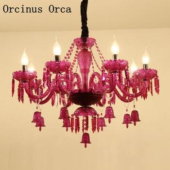 Европейская креативная фиолетовая Свеча хрустальная люстра для гостиной, столовой, спальни, американская Роскошная светодиодный цветная х...