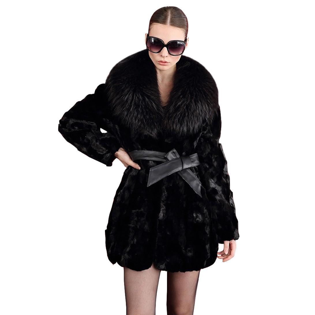faux fur coat black women coats With belt Fur collar 2017 autumn and winter fox fur long winter jackets women faux fur coat