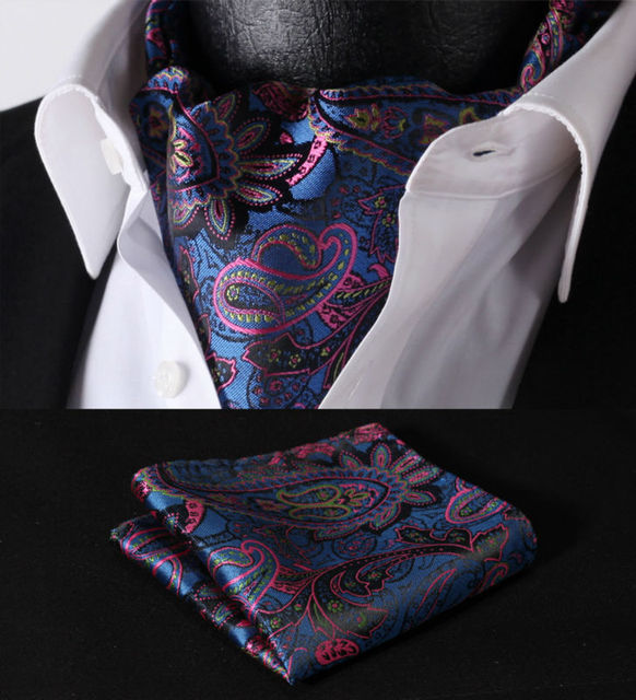 Rf408b azul rosa Paisley corbata de seda tejida Ascot pañuelo pañuelo Set