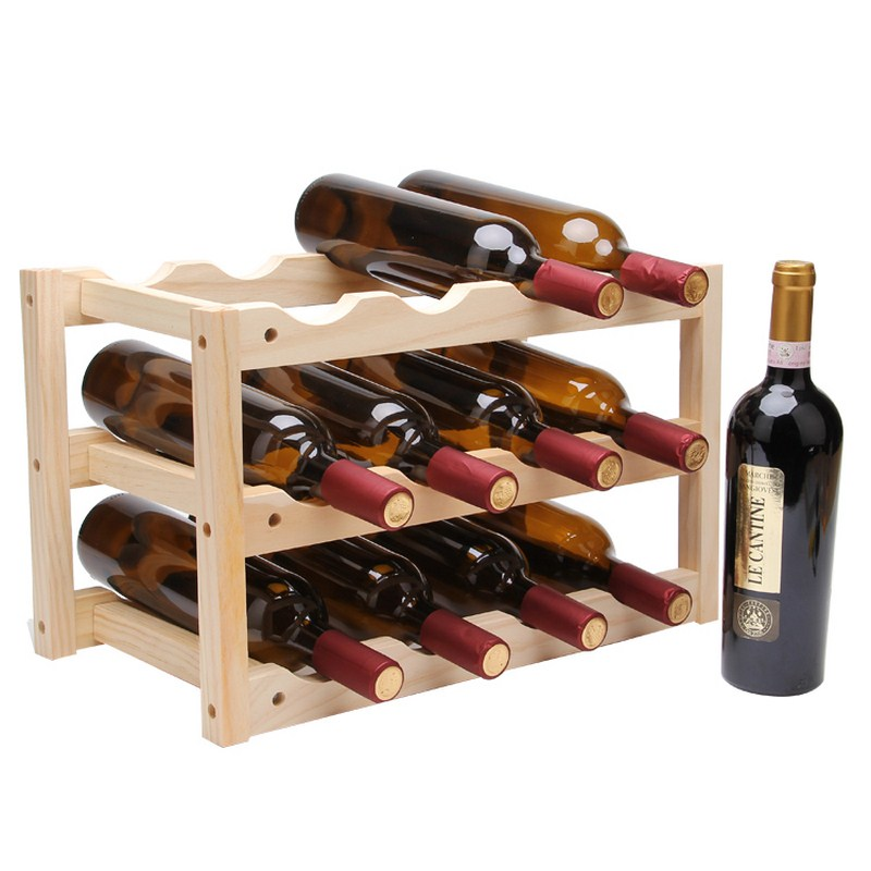 Creative Foldable Shelf Wine Racks Wooden 12Bottle ...