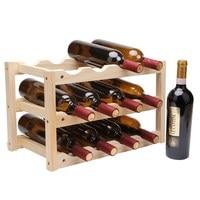 Creative Foldable Shelf Wine Racks Wooden 12Bottle Household Red Wine Rack DIY Beer Holder Kitchen Bar Solid Wood Display Shelf