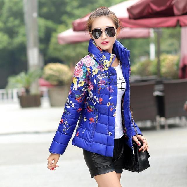 Floral de las mujeres wadded de Algodón Acolchado parka de invierno de las mujeres ocasionales de impresión hacia abajo abrigo chaqueta de algodón acolchado diseño corto delgado