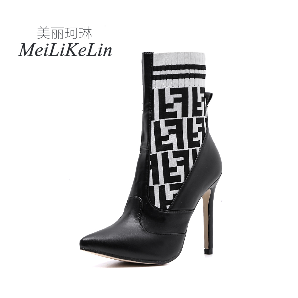 где купить Meilikelin Spring/Autumn Fashion Women's High-heeled Slip-On Stretch Fabric Concise Pointed Toe Woman Boot US5-9 Black Brown дешево