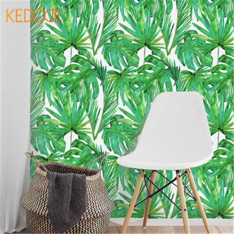 KEDODE Nordischen Stil Green Leaf Aufkleber Schlafsaal Dekoration  Wohnzimmer Große Tapete Hintergrundbild Grün Frische Decals