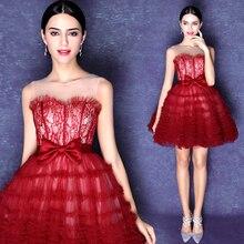 2016 Sexy Dark Red Short Mini Prom Kleider Sheer Scoop hals Taille mit Bogen Cocktail Graduation Party Kleider vestido de festa