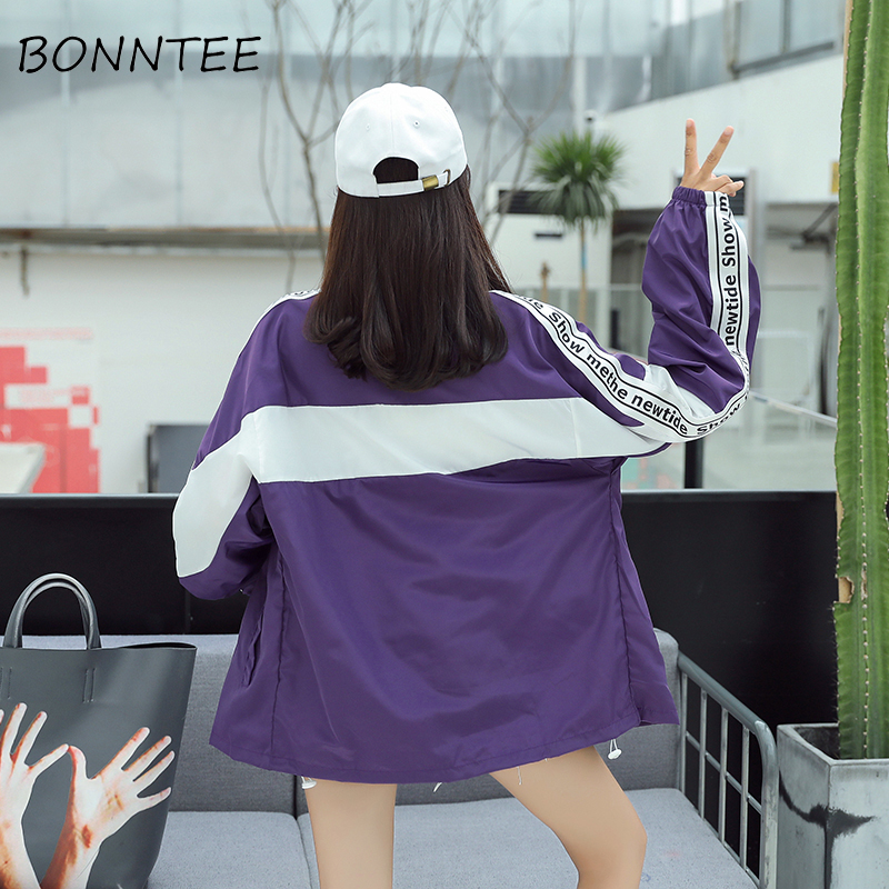 New Women   Jackets   Loose Letter Printed Zipper Stand Collar Chic Sun Shading   Basic     Jackets   Womens Fashion Pockets Outwear Casual