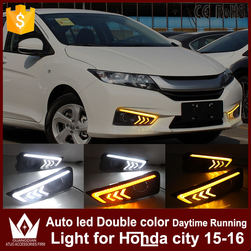 For Honda city 2015 2016 DRL daytime running light with turn signal light function headlight fog lights led car day light 2015 2016 2015 2015