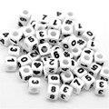 100 Pcs Mixed Números Branco Acrílico Contas Praça Spacer Beads Cube Contas de 7mm DIY