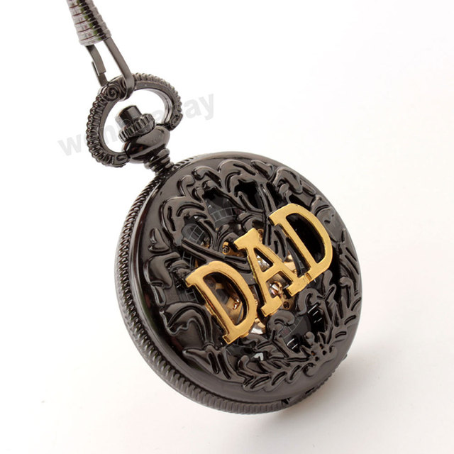 Antique DAD Necklace Hollow Mechanical FOB Pocket Watch Men Father's Day Gift P289