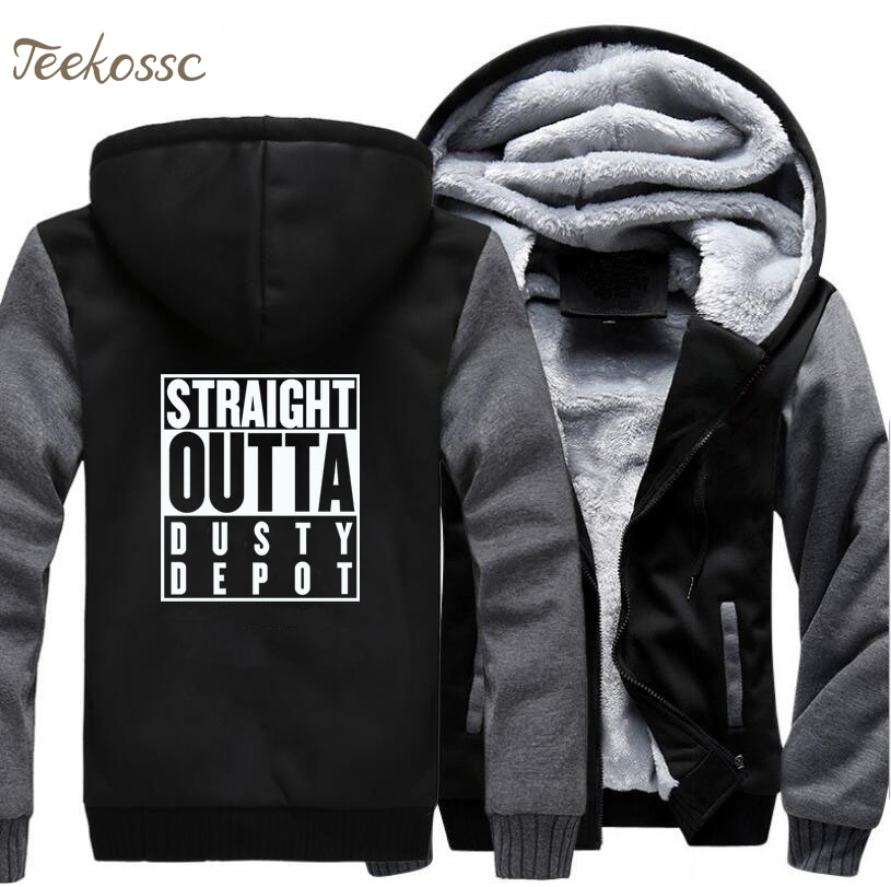Straight Outta Dusty Depot Hoodie Men Fortnite Game Hooded Sweatshirt Coat 2018 Winter Fleece Thick Music Hip Hop Punk Jacket