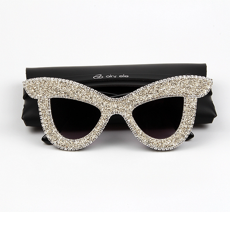 bcca5cd1f0e5 New Cat Eye Sunglasses Women Luxury Rhinestone Big frame oversized sun glasses  for men vintage shades
