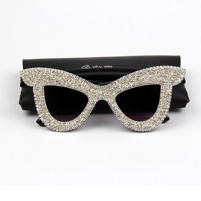 125d5dab335 New Cat Eye Sunglasses Women Luxury Rhinestone Big frame oversized sun  glasses for men vintage shades
