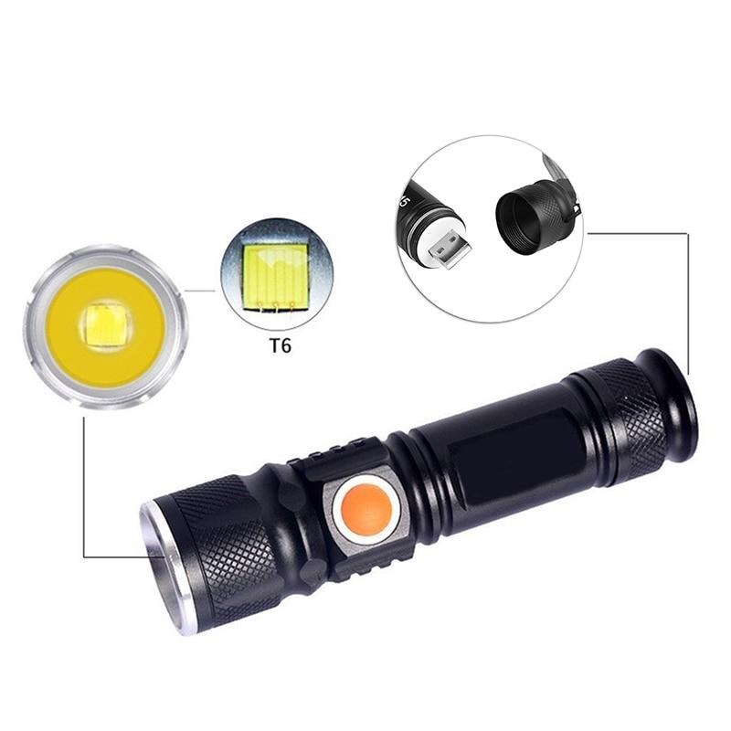 CREE XML T6 flashlight portable compact built-in battery USB charging waterproof 3000 lumen 18650 battery night cycling hiking.