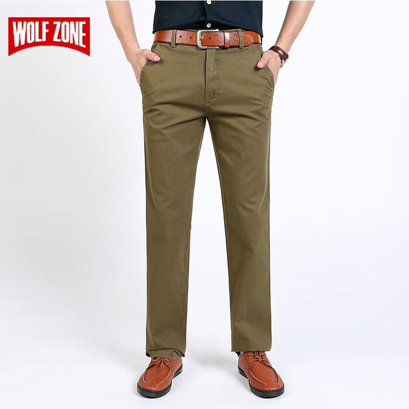 New Arrival Mens Casual Business Pant Men Mid Full Length Brand Stretch Trousers Regular Straight Black Green Khaki Big Size